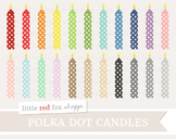 Polka Dot Birthday Candle Clipart; Party, Cake Decoration