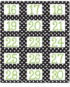 Polka Dot - Black, Lime and White Calendar Kit