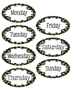 Polka Dot - Black, Lime and White Calendar Kit