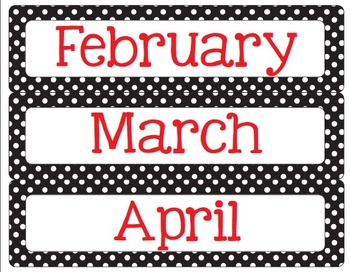 Polka Dot - Black, Red and White Calendar Kit