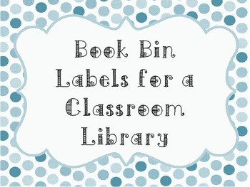 Polka Dot Book Bin Label for Classroom Library