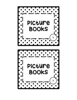 Polka Dot Book Bin Labels