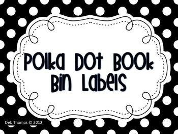 Polka Dot Book Bin Labels (Editable File Included)