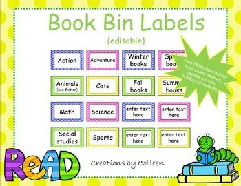 Book Bin Labels in Polka Dots {editable}