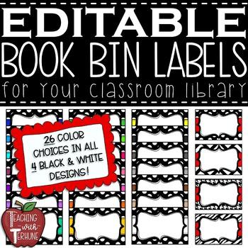 Polka Dot Book Bin Leveled Labels