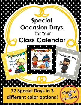 Polka Dot Border Special Occasion Calendar Days