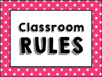 (Rainbow Polka-Dot Border) Classroom Rules