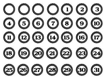 Polka Dot Bottle Cap Number Labels