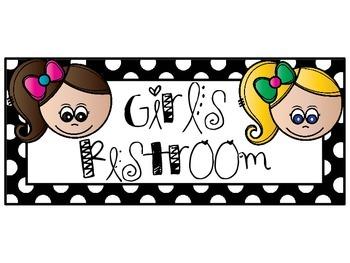 Polka Dot Boy-Girl Restroom Signs