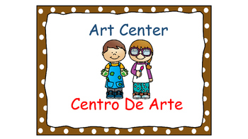 Polka Dot (Brown) Bilingual Learning Centers Signs