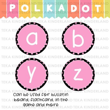 Polka Dot Bulletin Board Lowercase Letters {TeKa Kinderland}
