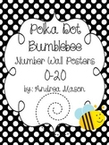 Polka Dot Bumblebee Theme Number Wall Posters 0-20 {with Ten Frames}