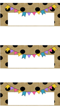 Polka Dot Bunting Labels/Desk Plates