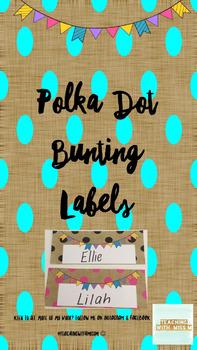 Polka Dot Bunting Labels/Desk Plates