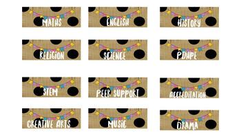 Polka Dot Bunting Theme Organiser