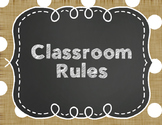 Polka Dot Burlap Class Rules Posters