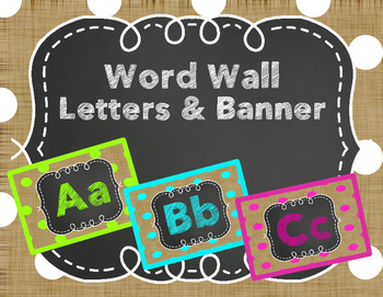 Polka Dot Burlap Word Wall Letters and Banner