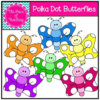 Polka Dot Butterflies Clipart Set