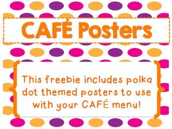 Polka Dot CAFE Menu Posters