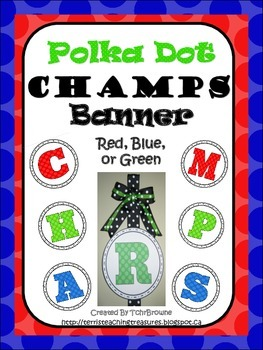 Polka Dot CHAMPS Banner - Red, Blue, and Green