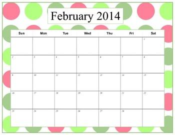 Polka Dot Calendar 2013-2014