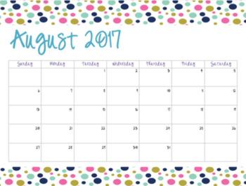 Polka Dot Calendar (2017-2018)