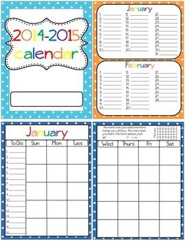 Polka Dot Calendar Book