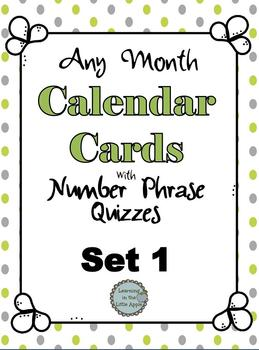Polka Dot Calendar Cards with Number Phrase Quizzes - Set #1