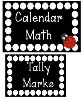 Polka Dot Calendar Math Titles