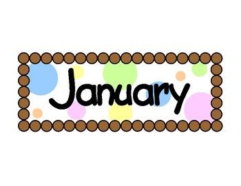 Polka Dot Calendar Month Cards