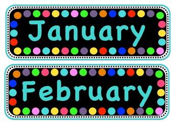 Polka Dot Calendar Months
