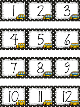 Polka Dot Calendar Numbers for August