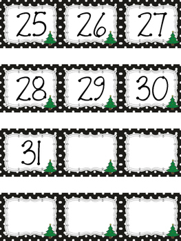Polka Dot Calendar Numbers for December