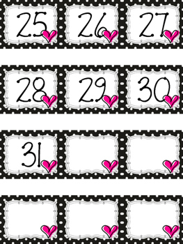 Polka Dot Calendar Numbers for February