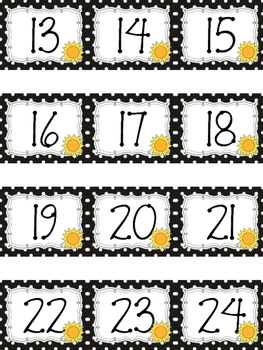 Polka Dot Calendar Numbers for June