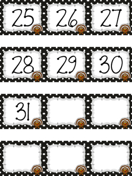 Polka Dot Calendar Numbers for November
