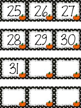 Polka Dot Calendar Numbers for October