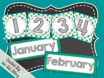 Polka Dot Calendar Set (Blue&Green)