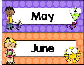 Polka Dot Calendar Set (Rainbow Big Dots)-Classroom Decor