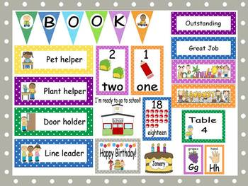 Polka Dot Calendar Set and Classroom Decorations