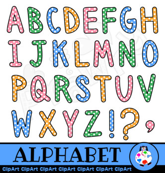 Polka Dot Capital Letter Alphabet Clip Art