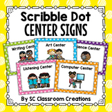 Scribble Polka Dot Center Signs- Classroom Decor