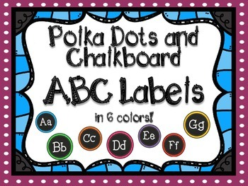 Polka Dot & Chalkboard ABC Labels for Word Walls & Classrooms