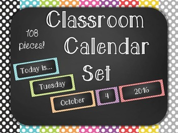 Polka Dot Chalkboard Classroom Calendar Set 9 Colors Blue Green Red