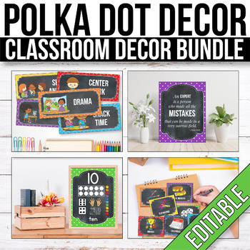 Polka Dot Chalkboard Classroom Decor Bundle EDITABLE Polka Dot Chalkboard Themed