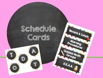 Polka Dot Chalkboard Schedule Cards