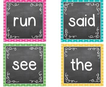 Polka Dot Chalkboard Word Wall Packet