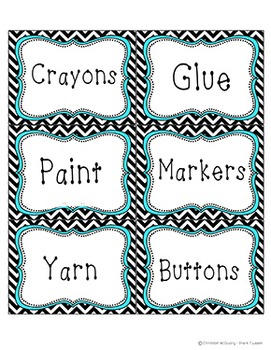 Polka Dot Chevron Labels