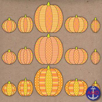 Polka Dot, Chevron & Striped Pumpkins Halloween Clip Art
