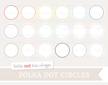 Polka Dot Circle Clipart; Frame, Label, Banner, Tag